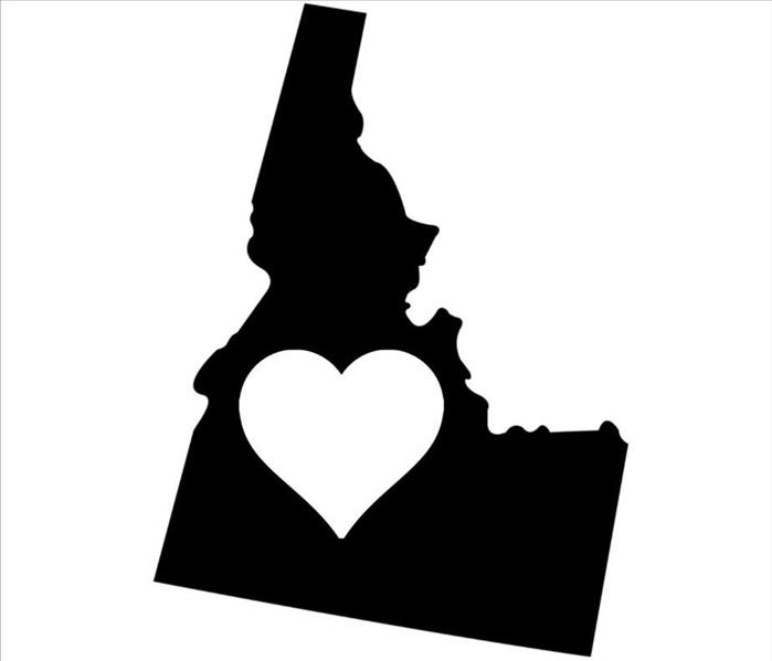 Map of Idaho with a heart in the middle