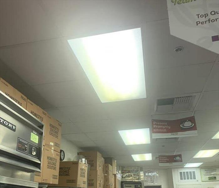 Ceiling tiles in a restaurants kitchen